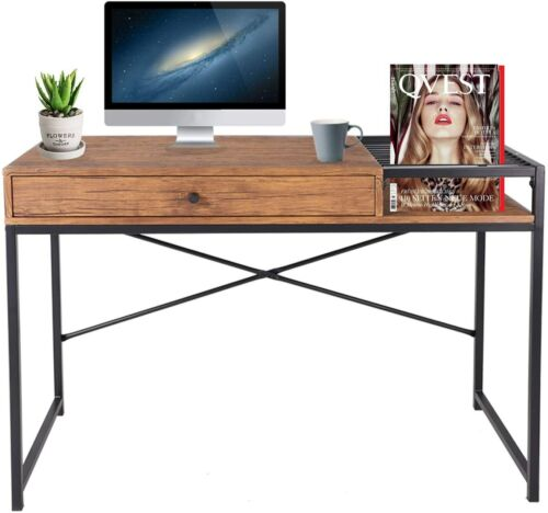Industrial Home Office Computer Desk Modern Sturdy Desk with Drawer&Book Rack