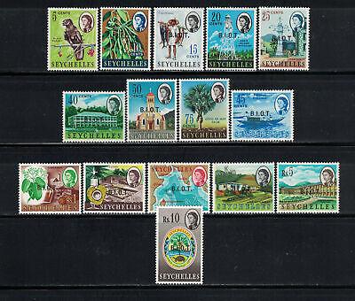 British Indian Ocean Territory 1968: #1-15 OP Seychelles QEII Issue NH:Lot#7/22