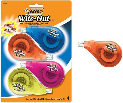 Bic Clean Wite-out Brand Ez Correct Correction Tape 4-count 5.25 X .75 X 8.125