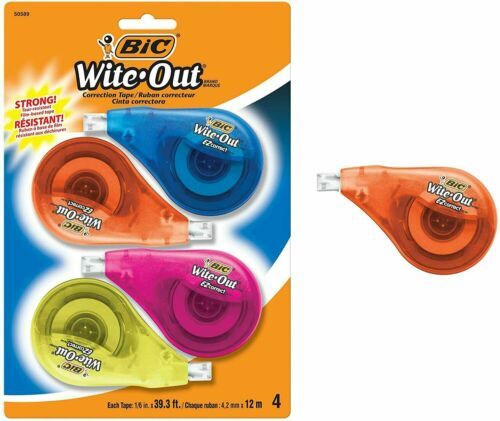 BIC White-Out Brand EZ Correct Correction Tape 4 Pack BIC Wite Out Tape