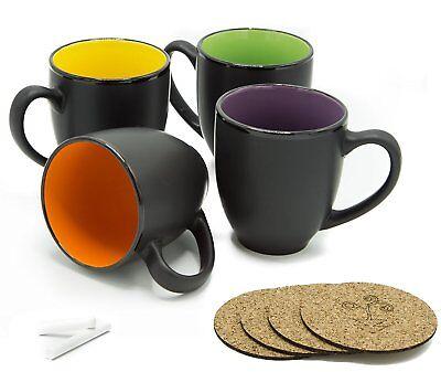 Bistro Coffee Mug Set of 4 - Large 14 Oz Ceramic - Black w/ Chalk and Coasters 14 Ounce Bistro Mug