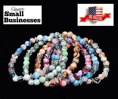 Acrylic Silver Bracelet - Marble Swirl Acrylic Bead and Tibetan Silver Stretch Bracelet (Various Colors)