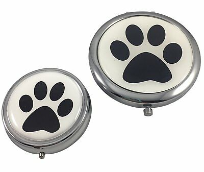 Dog Paw Print Makeup Mirror Compact and Pill Box Case Two Piece Gift Set