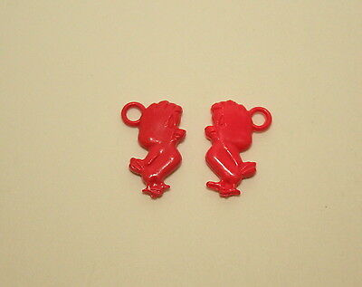 2 Rare Red Plastic Toy Gumball Machine Charm Henry Hawk WB Looney Tunes 70s NOS