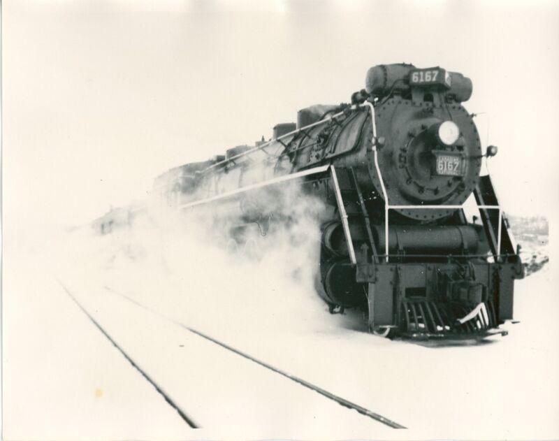 1962 Canadian National Locomotive Photo 6167 4-8-4 Barrie Ontario Railroad Steam