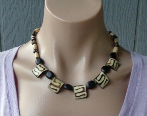 Vtg Kenyan African Bone Batik Brown Black Beaded Necklace 925 Silver Hook Clasp