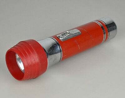 VTG 1950s Eveready Red and Chrome Flashlight Standard 2-Cell 'D' All American