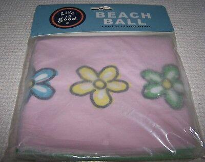 Life is Good 3 Daisies Beach Ball TULIP PINK ~ NEW - Pink Beach Ball