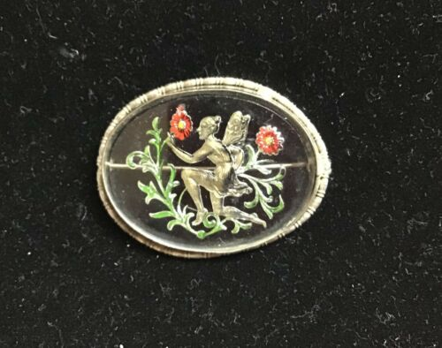 Wonderful 1920s Fairy brooch - reverse painted on glass!