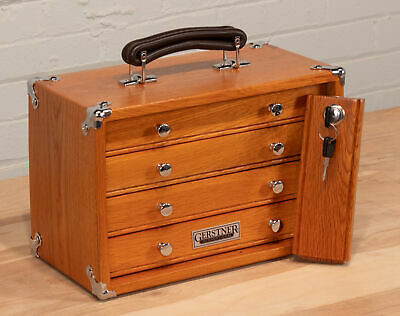 Gerstner International 4 Full Width Drawer Mini Portable Oak Veneer Tool Chest  4 Drawer Mini Chest