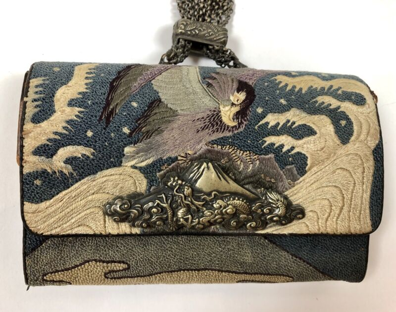 Antique Japanese Embroidery Leather Coin Purse Tobacco Pouch With Netsuke