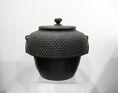 Antique Japanese Iron Tea Ceremony Chagama (Kettle) 'Arare' Pattern-Signed