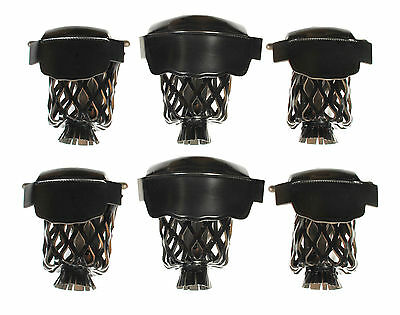 Set of 6 Leather Pool Table Billiard Pockets W # 6 Irons Black
