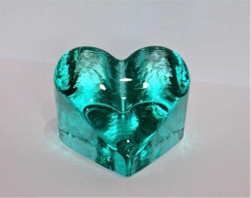 FIRE & LIGHT HEART SHAPED GLASS PAPERWEIGHT - SIGNED