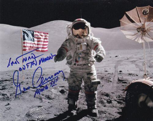 GENE CERNAN APOLLO 17 - LAST MAN ON THE MOON - HAND SIGNED 8x10 PHOTO NASA W-LOA