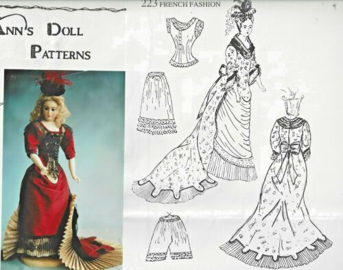 """16""""ANTIQUE FRENCH FASHION DOLL@1881 BALL GOWN APRON FRONT DRESS TRAIN PATTERN"""