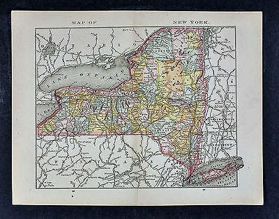 1885 McNally Map - New York - NY City Albany Buffalo Rochester Long Island