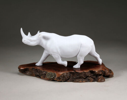RHINO by John Perry 9in long Pellucida sculpture on burl slab New Direct from