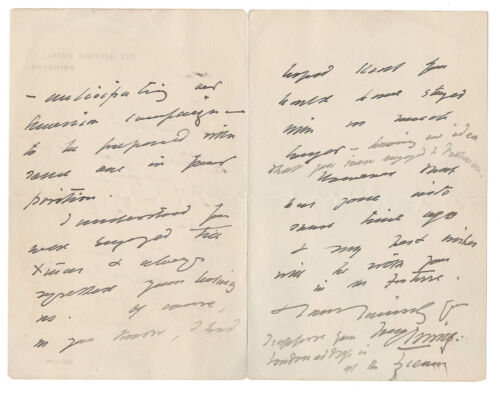 Henry Irving Autographed Letter Signed 1900 to Fellow Actor Charles B. Hanford