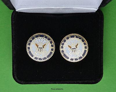NAVY Crest Cufflinks in Presentation Gift Box USN US