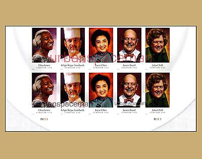 4922B-26B CELEBRITY CHEFS FIVE DESIGNS JULIA CHILD IMPERF PLATE BLOCK OF TEN