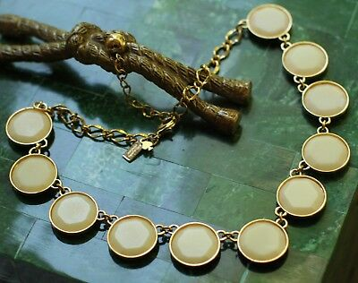 "Kate Spade cream ivory gold ""BAUBLEBOX"" Statement Necklace facet translucent gem"