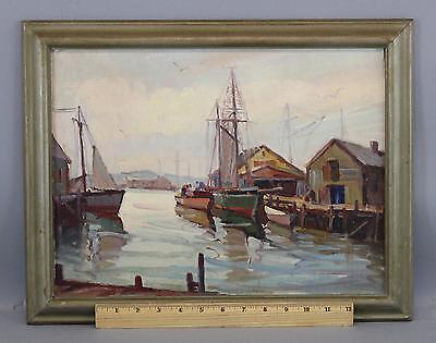 Antique Original ARTHUR N DAVIS Gloucester MA Fishing Boat Harbor Oil Painting