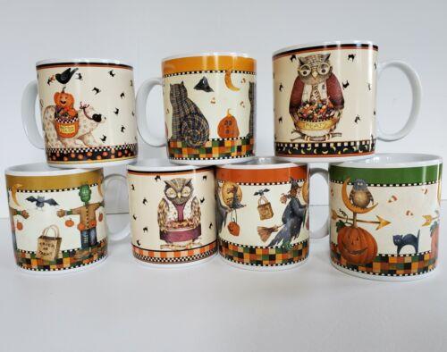 EUC Debbie Mumm LOT OF 7 HALLOWEEN COFFEE MUGS CUPS Owl Cat Witch Monster SAKURA