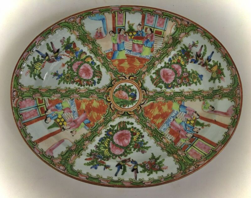 Antique Chinese Rose Medallion Large Oval Platter Circa 1920 15""