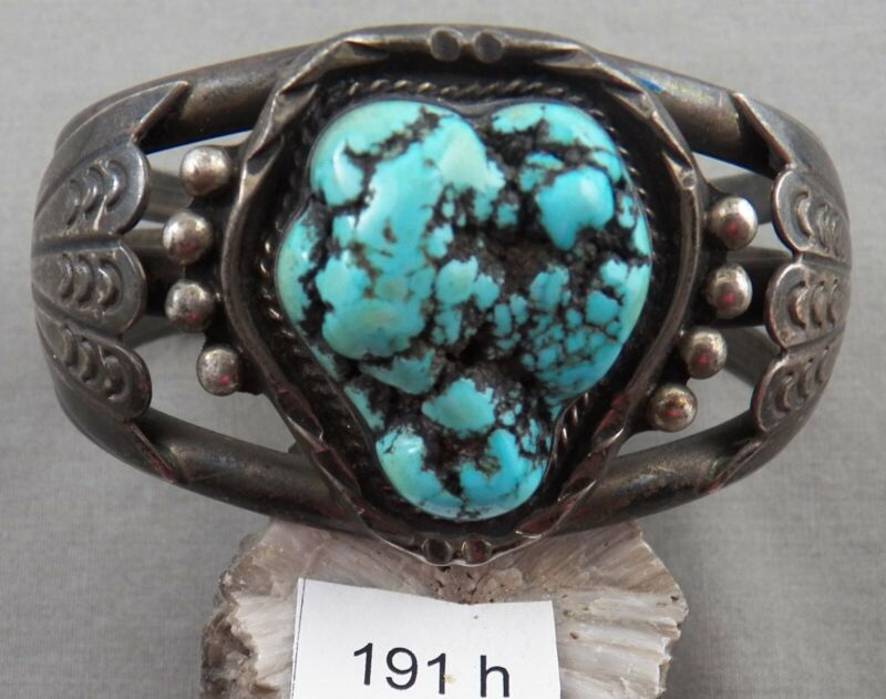 Indian Jewelry: Vintage HEAVY Navajo Turquoise and Sterling Bracelet, Spiderweb!