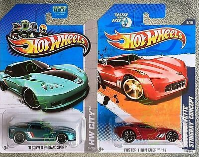 Hot Wheels - 11 Corvette Grand Sport - 09 Corvette Stingray Concept - Die-Cast