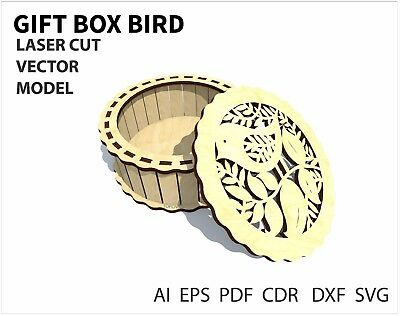 FILE DXF CDR EPS AI SVG for Laser Cut or CNC ROUTER  Gift Box Bird VECTOR FILE