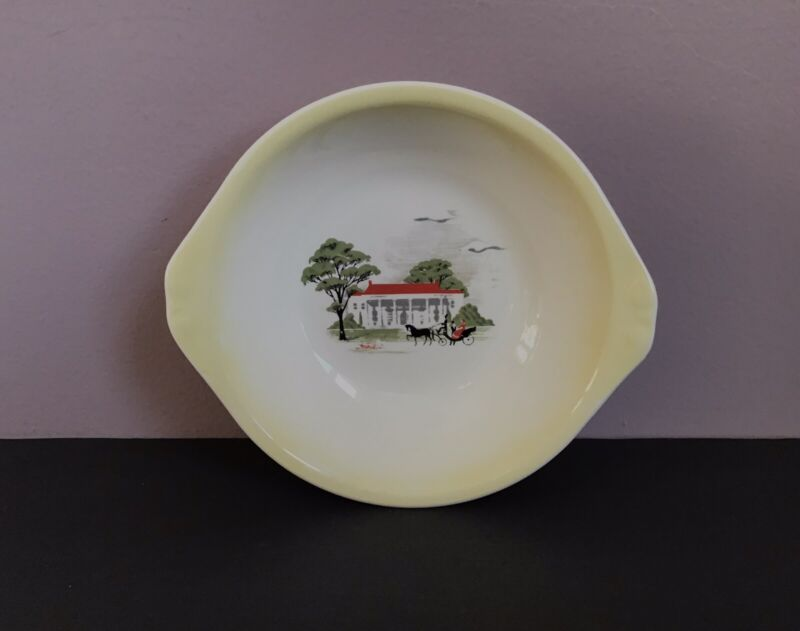 Vintage Paden City Pottery USA Rare Colonial House & Carriage Small Bowl 1955