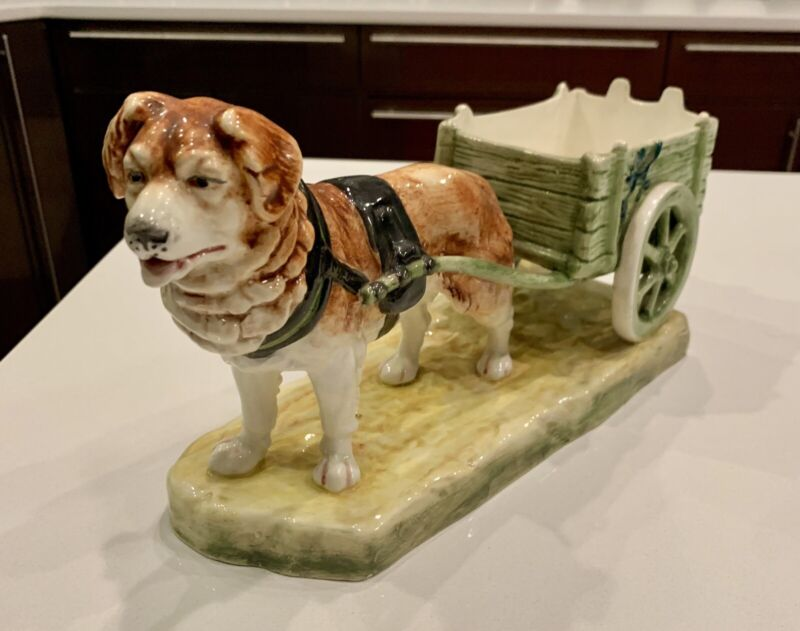 Antique Royal Dux St. Bernard Working Dog With Cart