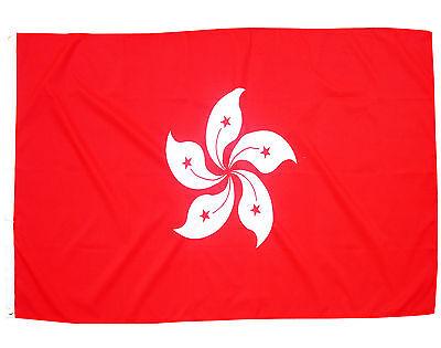 Fahne Hongkong Querformat 90 x 150 cm Hiss Flagge Hong Kong  Bauhinien-Blüte