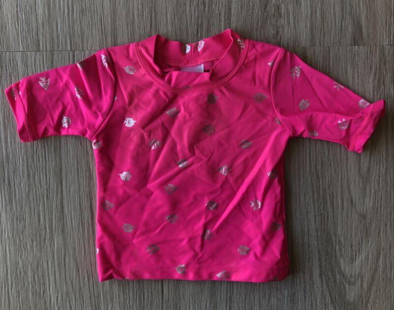 Carters Rash Guard Girls size 2T Short Sleeve Pink Fish Shirt