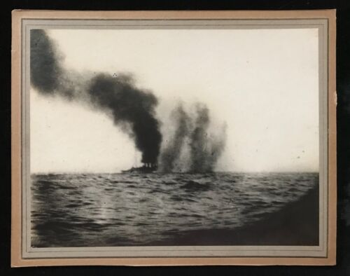 1916 Battle of Jutland - Original Large Photograph of HMS Birmingham Under Fire