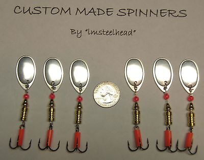 Ea 1 Lot of 6 Custom Steelhead Pike #4 Size Silver French Blade Spinners 1//3 Oz