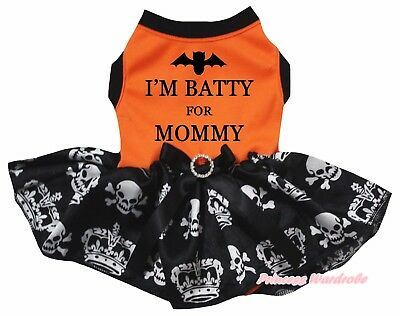 Batty for Mommy Halloween Orange Top Crown Skull Tutu Pet Cat Dog Puppy Dress - Dogs Dressed For Halloween