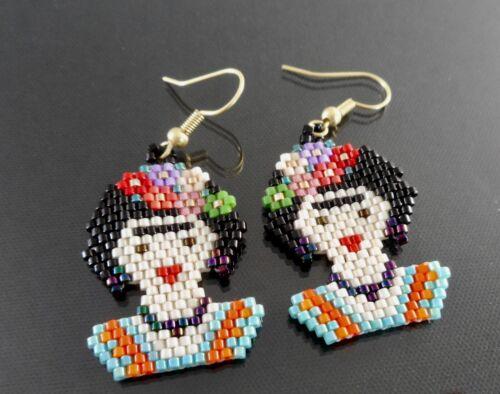 Frida Kahlo Earrings Huichol Beaded Art Mexican Folk Art Chaquira Hook Earrings
