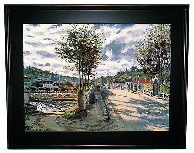Monet The Seine at Bougival -Black Gallery Framed Canvas Print Repro 25 x 32