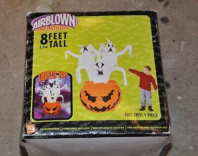 Halloween Airblown Inflatable Pumpkin With Ghost Gemmy Blow Up