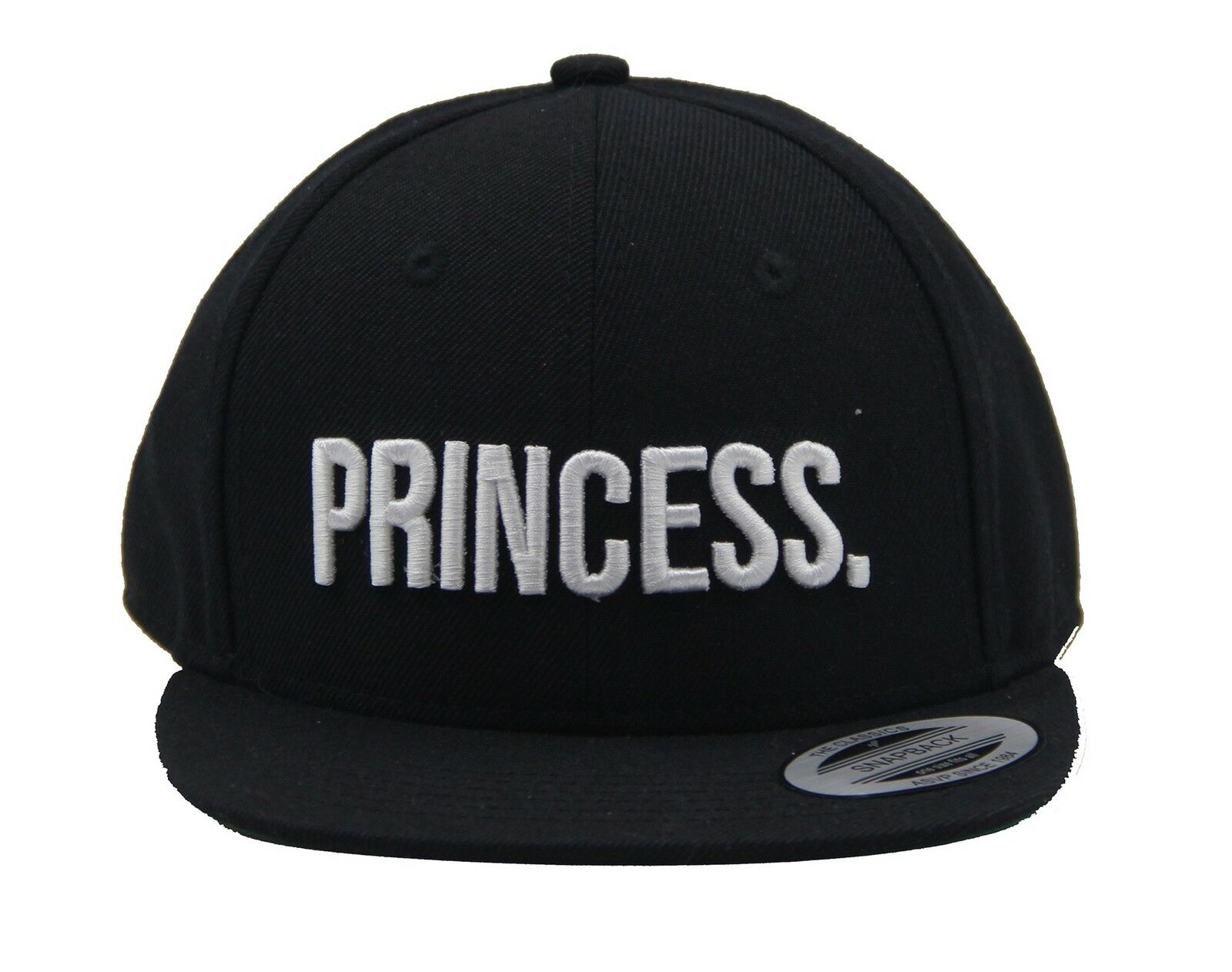 450b79dad2e4c7 ASVP Shop® Snapback Cap with Embroidered Princess Text & Stylish Design in  Black