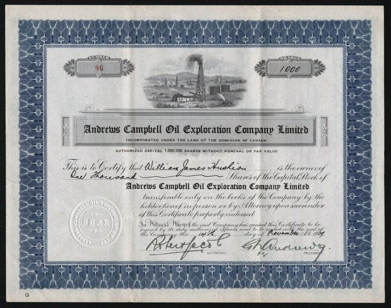 1929 Canada: Andrews Campbell Oil Exploration Company Limited