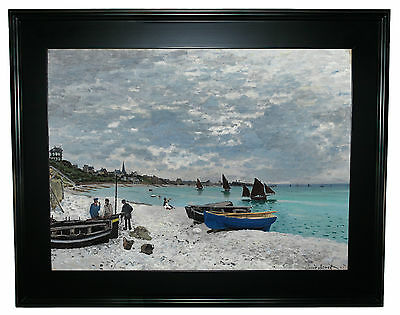 Monet On the beach at Sainte Adresse -Black Framed Canvas Print Repro 25 x 32