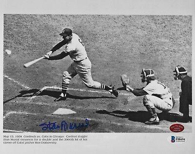 Stan Musial 3000th Hit signed Cardinals autograph 8x10 auto photo STM & BAS COA