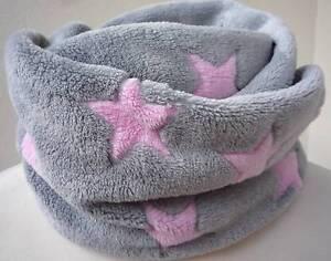 Kinder Schal Loop Schlauchschal *Sterne* grau-rosa Fleece neu
