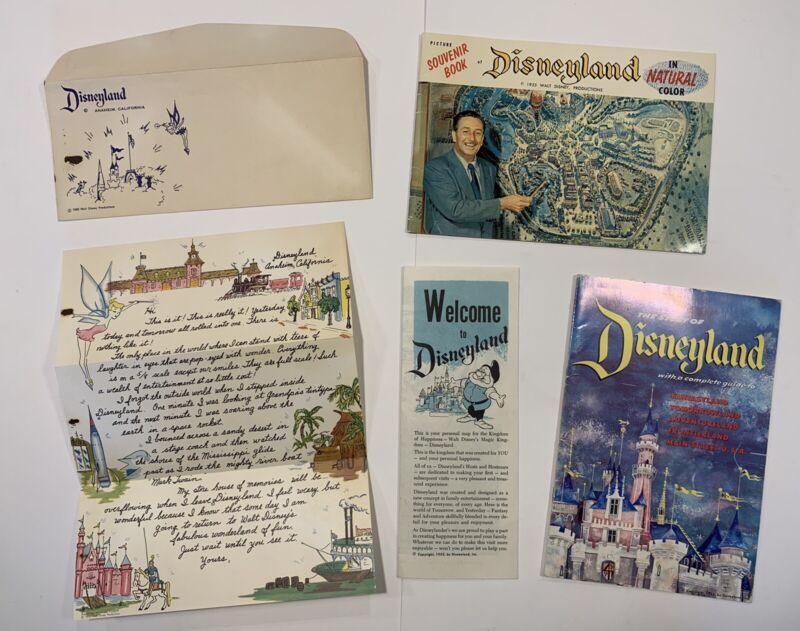 Vintage Disneyland 1955 Collection Pamphlet, Guide book, Letter & Pictorial Book