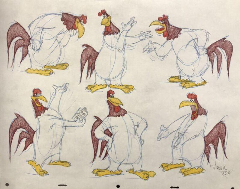 Original Warner Brothers Virgil Ross signed Fog Horn Drawing model sheet cel