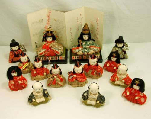 "VINTAGE Hina Ningyo Hinamatsuri dolls, Japanese,15 in set, average about 5"" high"